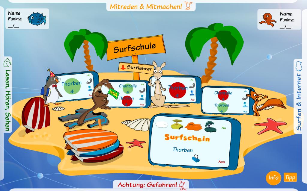 """Screenshot der """"Hauptinsel"""" des Internet-Surfscheins"""